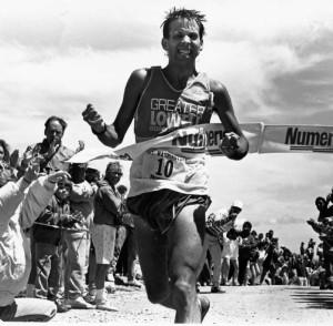Dave winning the 1989 Mt Washington Race